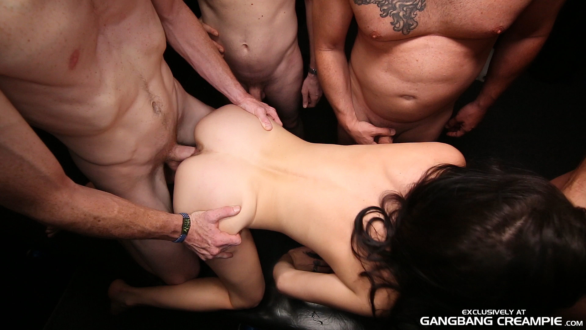 tiny spinner takes on the cocksmen gangbang creampie